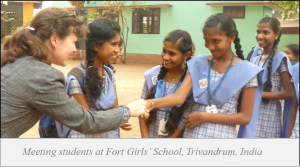 Lydia meeting girls in India